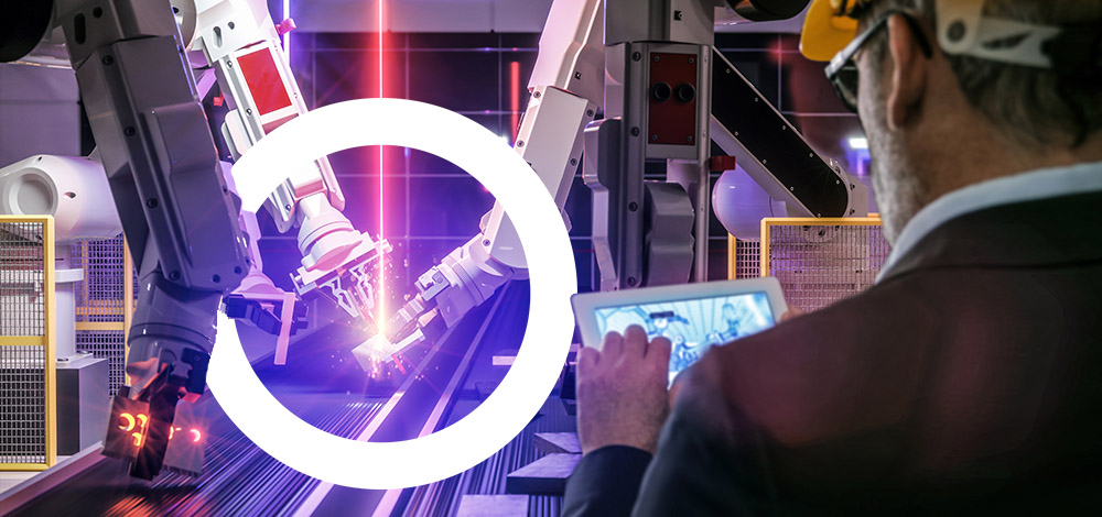 Smart automation industry robot in action welding metall while e